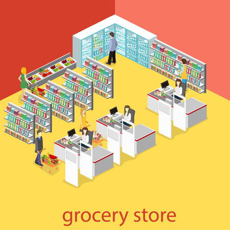 realictic: Isometric interior of grocery store. Shopping mall flat 3d isometric concept web vector illustration. Illustration