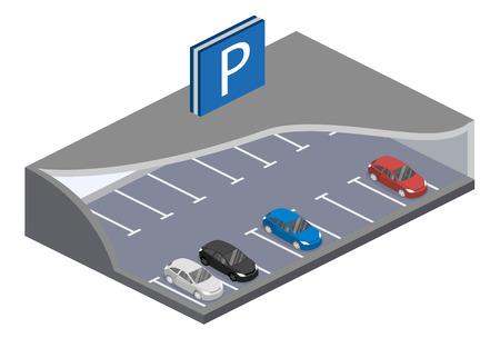 concept de vecteur 3D parking plat isométrique souterrain avec des voitures. Le transport urbain. place de parking Vecteurs