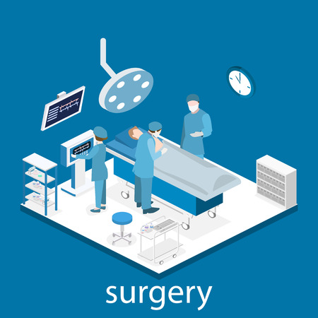 Isometric flat 3D concept vector interior of Surgery Department. Hospital Plastic Surgery Operating Theater Medical Doctor Surgeon and Patient Surgery Infographic.