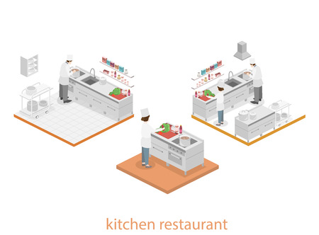 professional equipment: Isometric flat 3D concept interior of professional restaurant kitchen