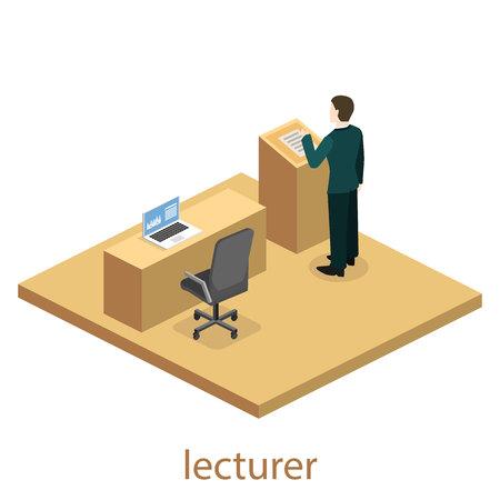 auditorium: Isometric flat 3D concept vector interior university auditorium. Students sitting at desks and listening to the teacher. education training Illustration