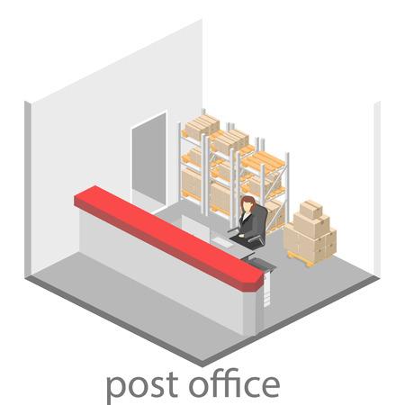 Isometric flat 3D interior of post office. Vector illustration post service Illustration