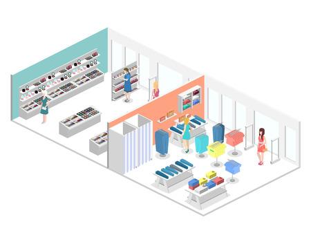 shoppers: isometric interior of shopping mall. Flat 3d vector illustration. Illustration