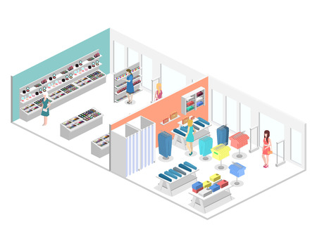 isometric interior of shopping mall. Flat 3d vector illustration. Illustration