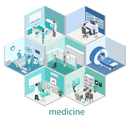 Isometric flat interior of hospital room, pharmacy, doctors office, waiting room, reception, mri, operating. Doctors treating the patient. Flat 3D vector illustration Ilustrace