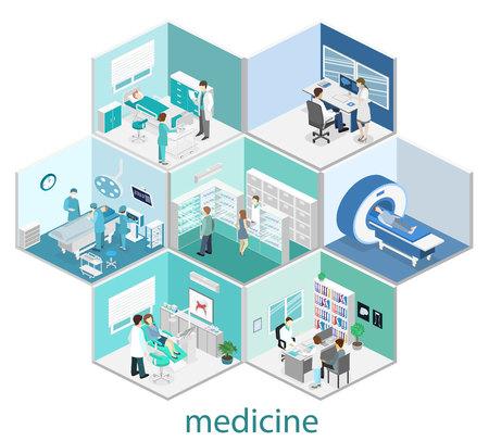 Isometric flat interior of hospital room, pharmacy, doctors office, waiting room, reception, mri, operating. Doctors treating the patient. Flat 3D vector illustration Illusztráció