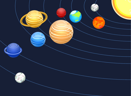 Isometric flat 3D concept vector solar system showing planets around sun Illustration