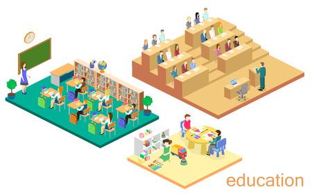 Isometric flat 3D isolated concept vector interior kindergarten, school, university auditorium. education system. children growing up Illustration