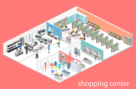 isometric interior shopping mall, grocery, computer, household, equipment store. Flat 3d vector illustration