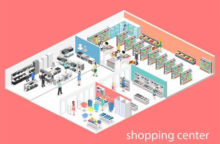 Centro comercial isométrico del interior, ultramarinos, computadora, hogar, tienda del equipo. 3d ilustración vectorial plana