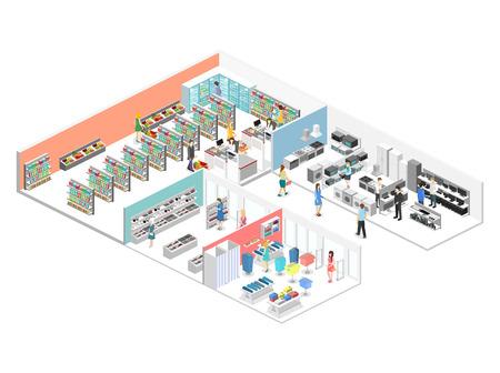 쇼핑몰, 식료품, 컴퓨터, 가정, 장비 상점의 등각 투영 내부. 플랫 3D 벡터 일러스트 레이션 일러스트