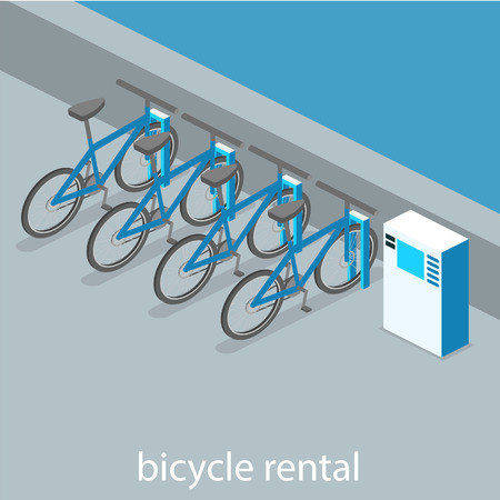 Isometric flat 3D isolated concept vector cutaway interior bicycle rental Vectores