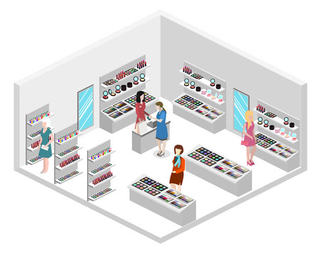 Isometric flat 3D isolated concept vector interior cosmetics shop 向量圖像