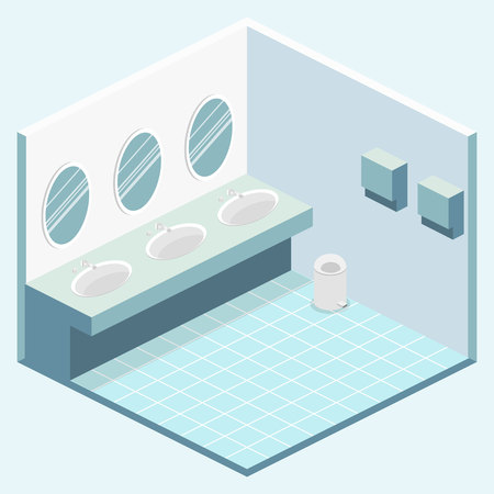 Isometric flat 3D isolated concept vector cutaway interior of public toilet Illustration