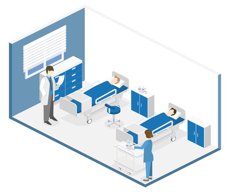 Flat 3D illustration Isometric interior of hospital room. Doctors treating the patient. 向量圖像