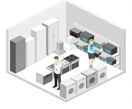 Isometric flat 3D isolated concept vector cutaway interior household equipment store