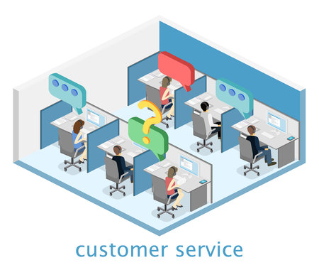 switchboard: Isometric flat 3D isolated concept vector cutaway interior men and women working with headset in a call center. Customer support. People working in the office.