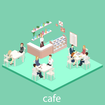 Isometric interior of sweet-shop. People sit at the table and eating. Flat 3D illustration
