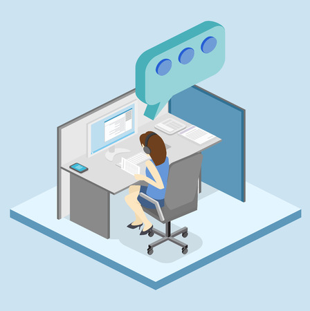 Isometric flat 3D isolated concept vector cutaway interior women working with headset in a call center. Customer support. People working in the office.