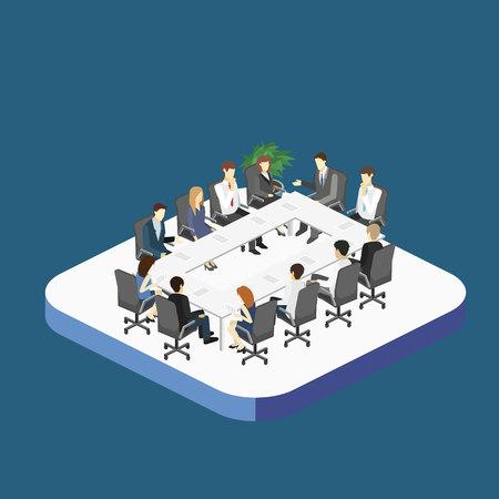 Business meeting in an office Business presentation meeting in an office around a table. Isometric flat 3D interior 矢量图像
