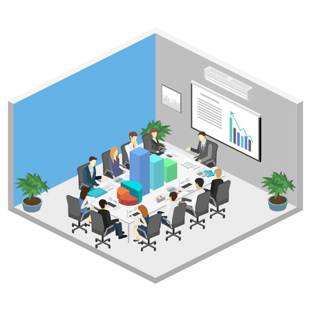 Business meeting in an office Business presentation meeting in an office around a table. Isometric flat 3D interior Stock Illustratie
