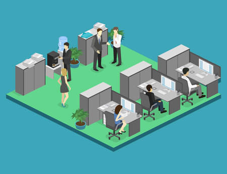 waiting room: Flat 3d isometric abstract office floor interior departments concept vector. illustration of office Illustration