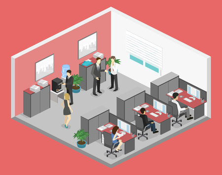 Flat 3d isometric abstract office floor interior departments concept vector. illustration of office Vectores