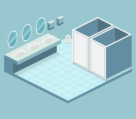 Isometric flat 3D isolated concept vector cutaway interior of public toilet Vectores