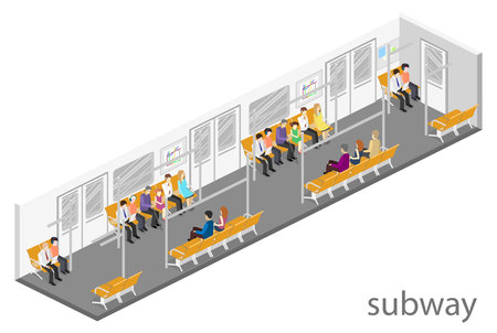 electric train: Isometric flat 3D concept vector interior of metro subway train carriage. underground station Illustration