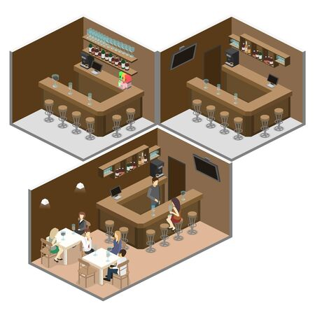 cold room: Isometric 3D flat interior of bar or pub. The chairs stand around the bar. alcoholic drinks on the shelves