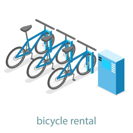 Isometric flat 3D isolated concept vector cutaway interior bicycle rental Illustration