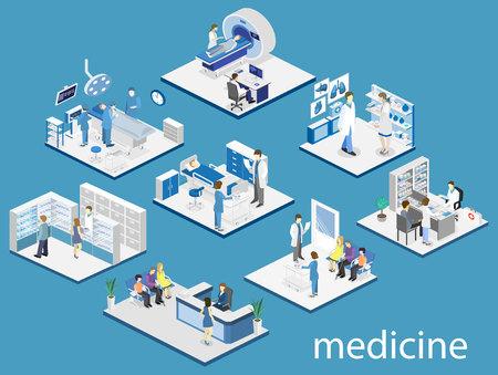 病室、薬局、診察室、待合室、受付、mri、営業の等尺性フラット インテリア。医師が患者の治療します。フラット 3 D ベクトル図  イラスト・ベクター素材