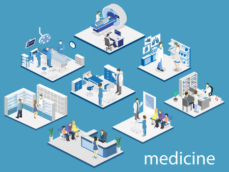 Isometric flat interior of hospital room, pharmacy, doctors office, waiting room, reception, mri, operating. Doctors treating the patient. Flat 3D vector illustration 向量圖像