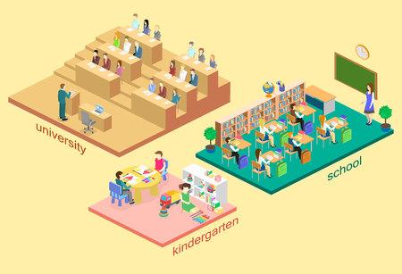 3D isométrica plana aislada vector de concepto de jardín de infancia de interiores, escuela, auditorio universitario. sistema educativo. los niños que crecen