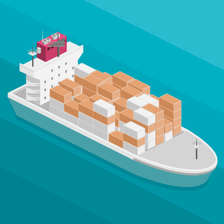 Isometric vector illustration of two River Cargo Boats traveling on water. Larger boat is transporting various size cargo containers.
