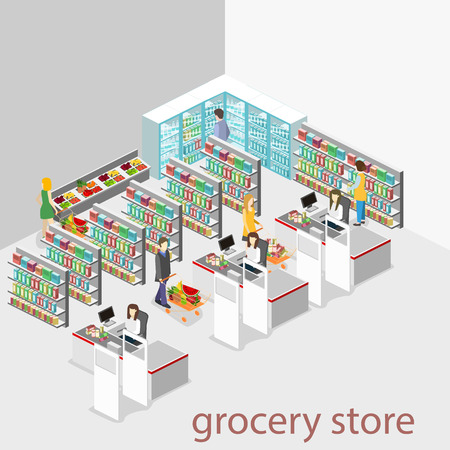 Isometric interior of grocery store. Shopping mall flat 3d isometric concept web vector illustration. Ilustração