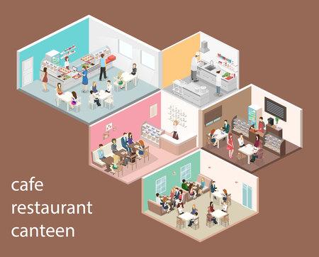 Interior isométrico del vector de la tienda del dulce, de la cafetería, de la cantina y del restaurante. Ilustración de vector