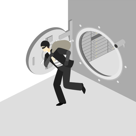 heist: thief running out of a bank vaul. Illustration