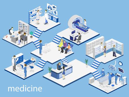 sala de hospital, farmacia, consultorio médico, sala de espera, recepción, resonancia magnética, funcionamiento. Ilustración de vector