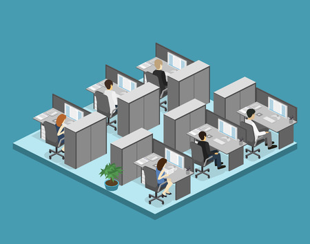 Flat 3d isometric abstract office floor interior departments concept vector. Illustration