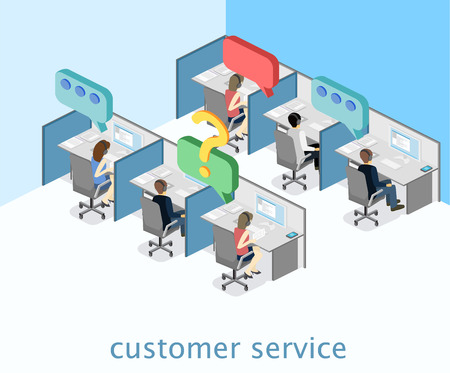 Isometric flat 3D interior call center. Customer support.