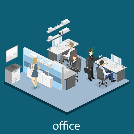 mfp: Flat 3d isometric abstract office floor interior departments concept.
