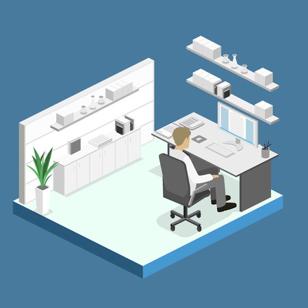 mfp: Flat 3d isometric abstract office floor interior departments concept. Set of isometric business people , info graphic vector design