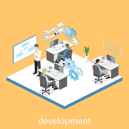 specification: Flat 3D vector isometric concept illustration of office software developer and teamwork. development of mobile applications.