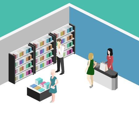 Isométrique intérieur 3D plate de librairie. Vector illustration ibook magasin. Les gens choisissent et achètent des livres Vecteurs
