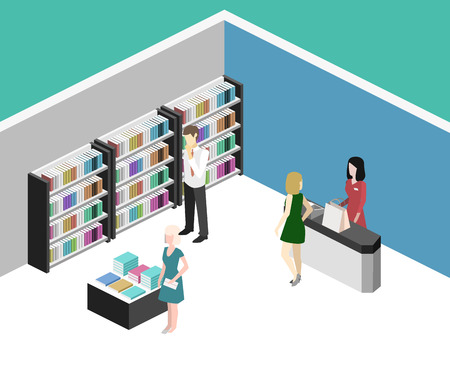 Isometric flat 3D interior of book shop. Vector illustration ibook store. People choose and buy books Illustration