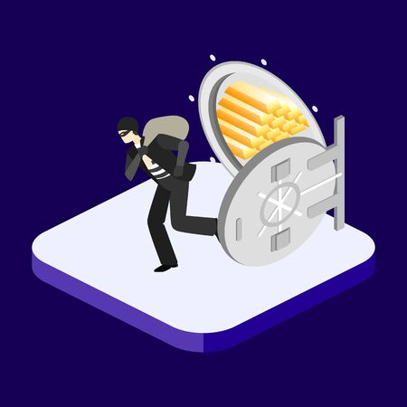 heist: Thief running out of a bank vaul. Isometric flat 3D isolated concept vector