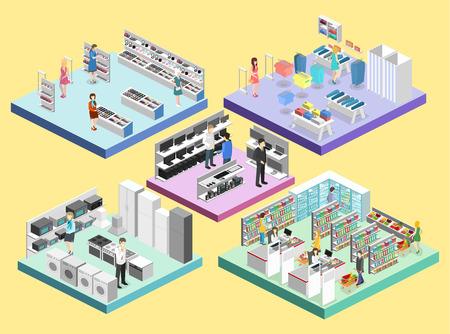 mujer en el supermercado: Centro comercial isométrico del interior, ultramarinos, computadora, hogar, tienda del equipo. Vectores