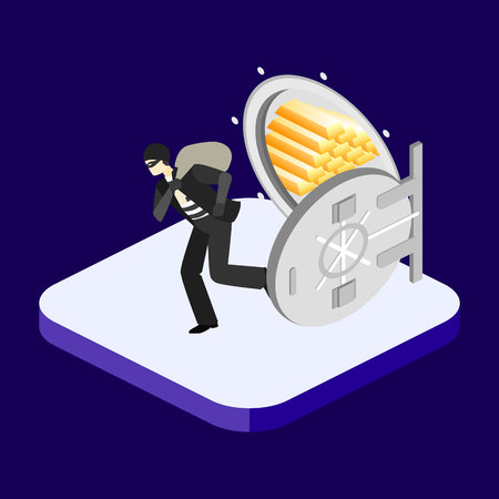 heist: thief running out of a bank vaul. Isometric concept vector