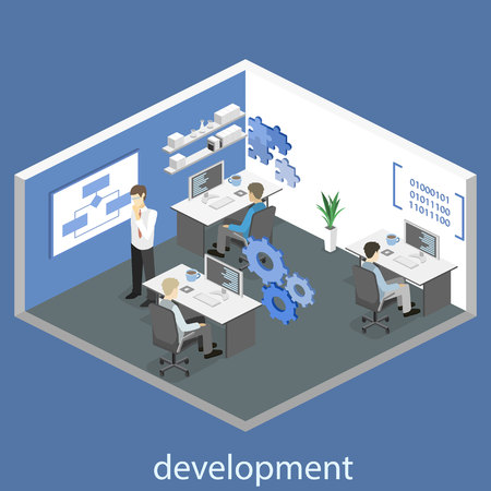 Flat 3D vector isometric concept illustration of office software developer